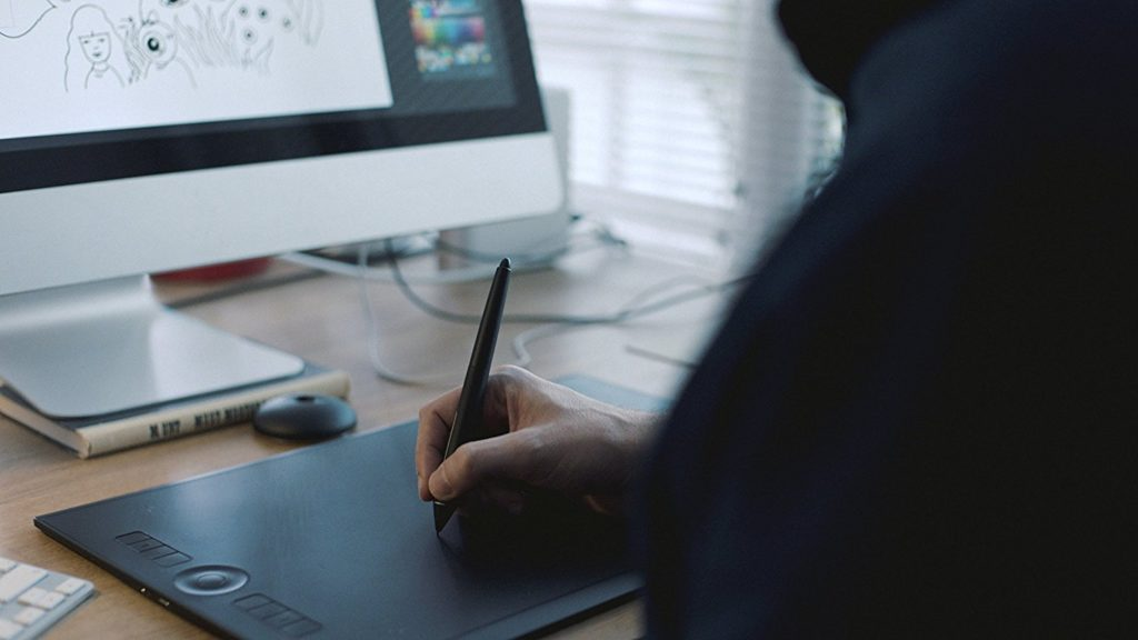 drawing tablet being used by digital artist