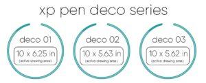 xp pen deco 01 deco 02 deco 03 size comparison