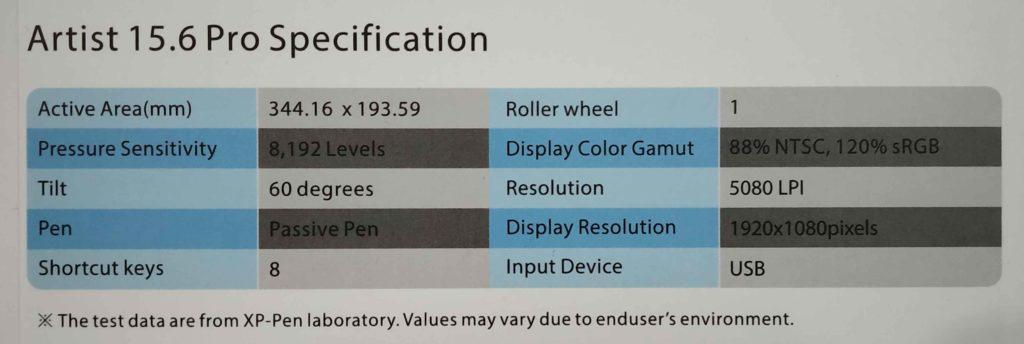 tablet specifications Artist Pro
