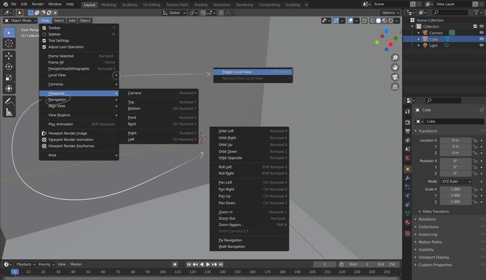 Access numpad hotkeys through view menu in Blender
