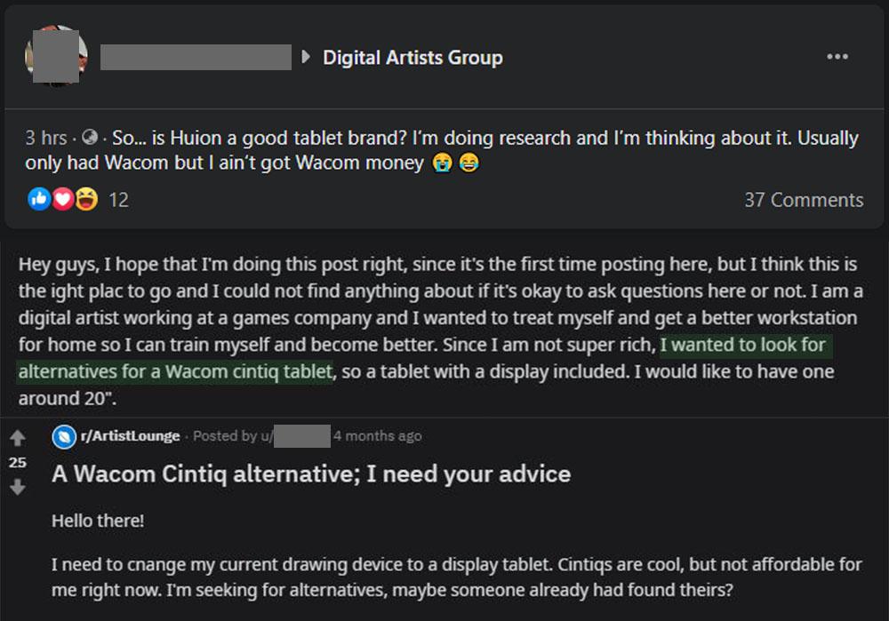 Screenshots of Artists looking for Wacom Cintiq Alternatives