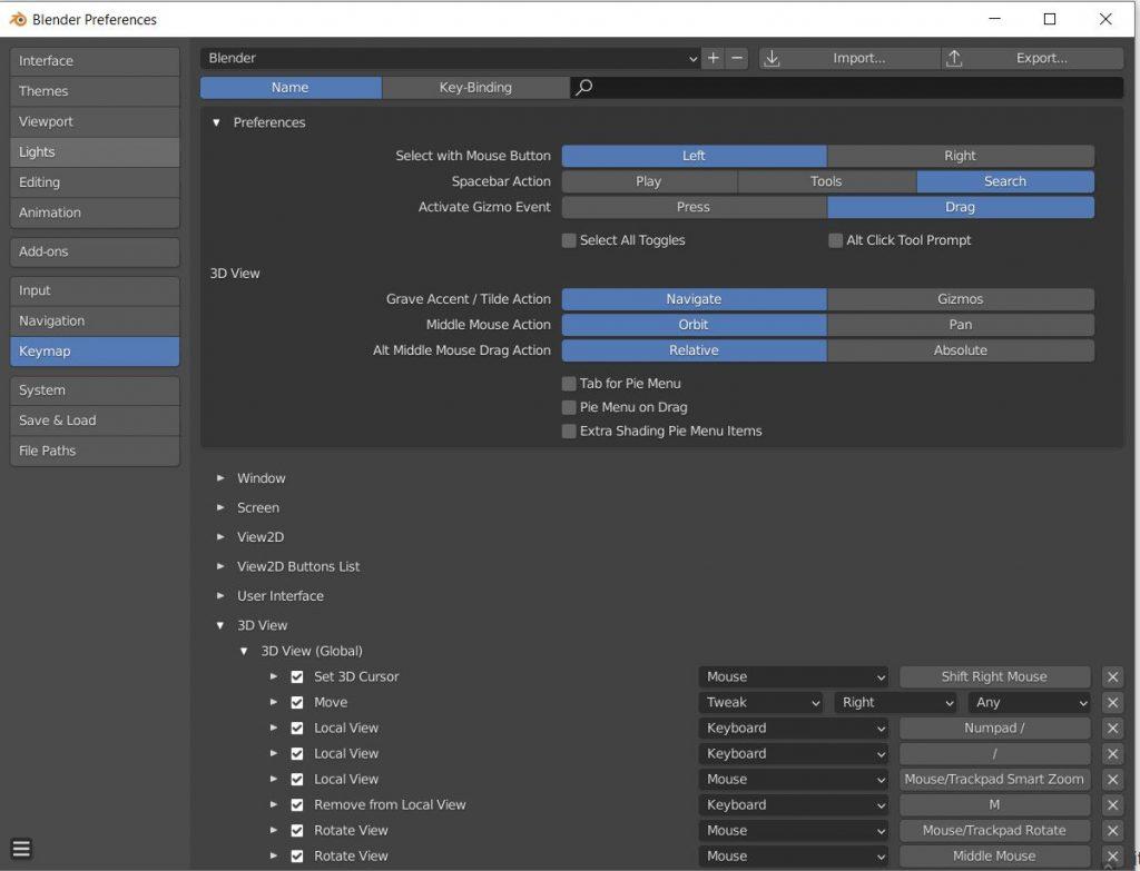 Blender shortcut button remapping