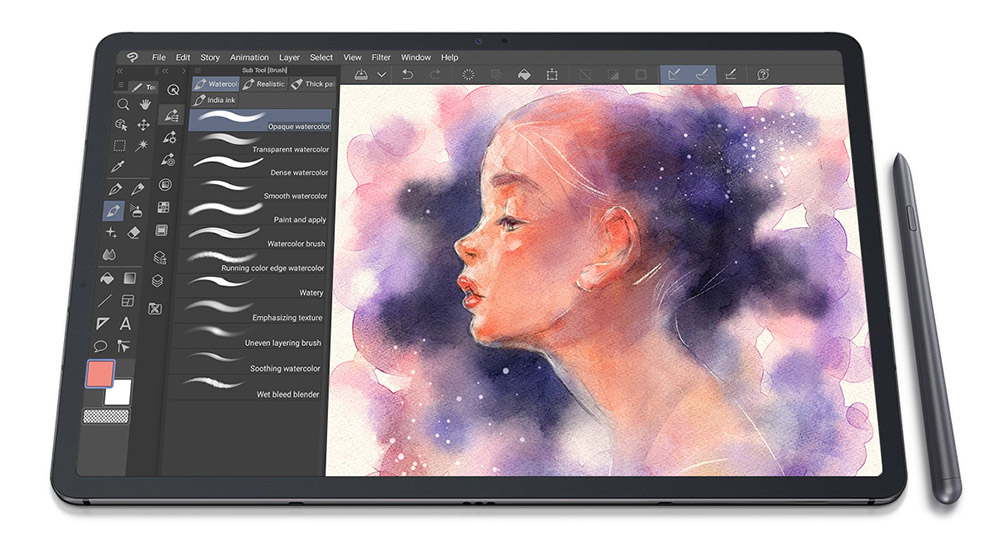 Samsung Galaxy Tab S7+ is the right size for a portable drawing tablet