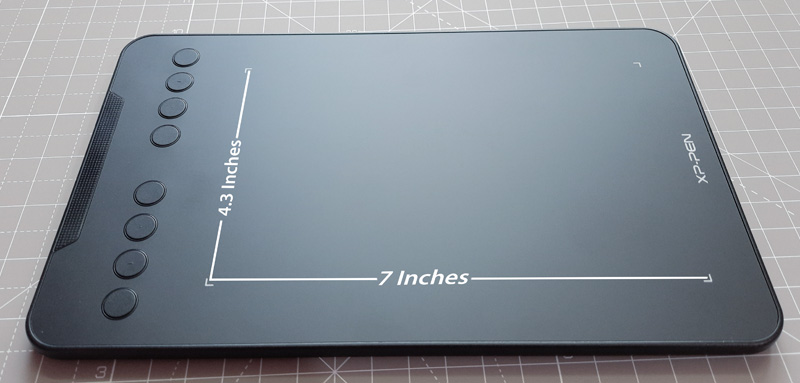 deco mini 7 - drawing surface and active drawing area
