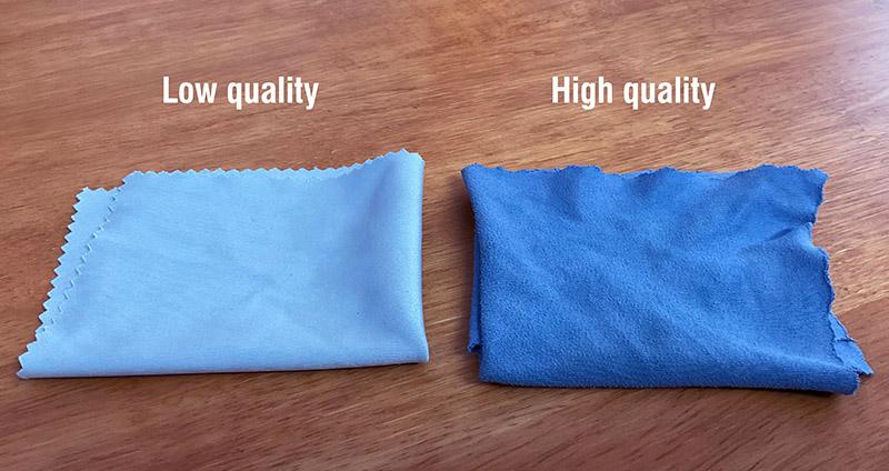 high quality vs low quality microfibre cloth
