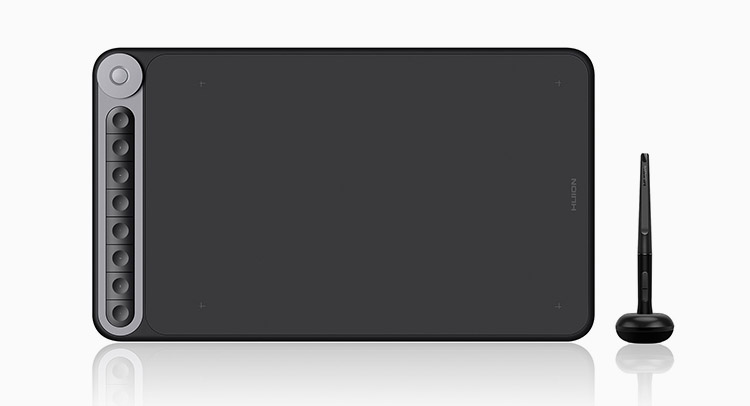 huion inspiroy dial - best graphics tablet for beginners under 100 dollrs