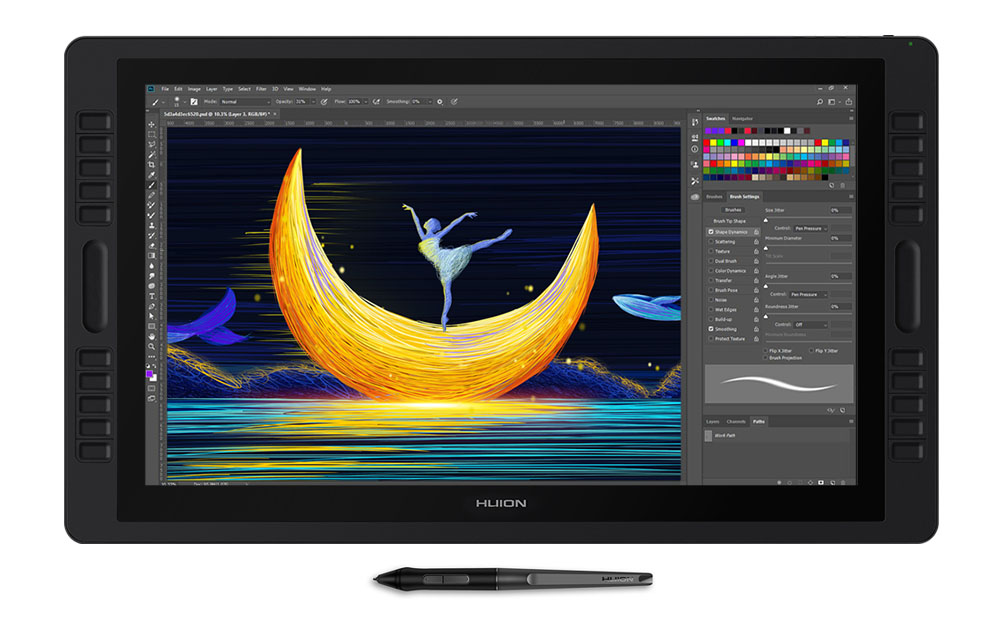 huion kamvas studio 22 - large size drawing tablet with built-in computer