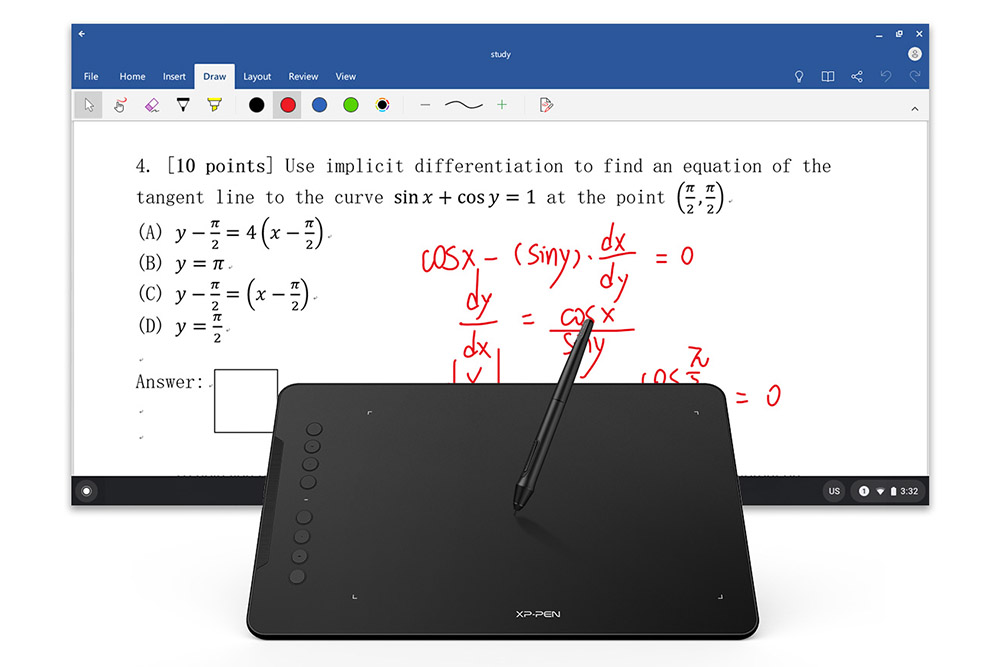 xp pen deco 01 v2 for writing and studing maths science